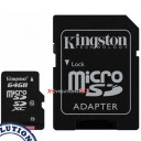 Tarjeta de Memoria KINGSTON 64 Gb. MICRO SD CLASE 10