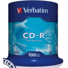 CD VERBATIM Tarrina 100 Unidades 700 Mb. 52X
